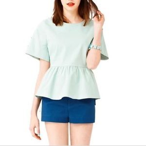 Kate Spade Saturday Peplum Top Mint Green Blouse S